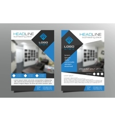 Grey blue brochure flyer template design vector