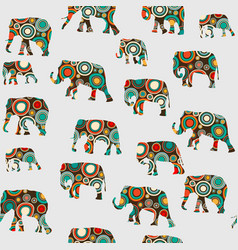 abstract colorful pattern with elephants vector image