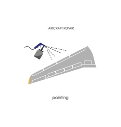 Aircraft wing painting Repair and maintenance vector image vector image