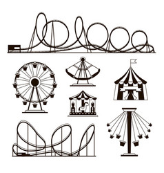 amusement park roller coasters and carousel vector image