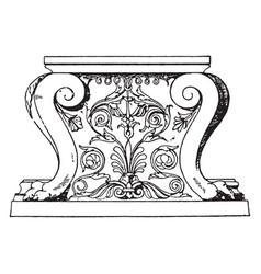 Antique table support trapezophoron recumbent vector