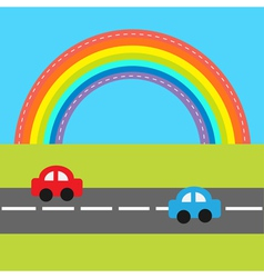 Background with rainbow road and cartoon cars vector