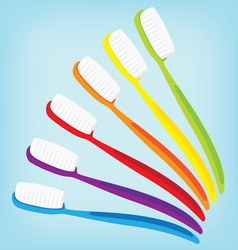 brush teeth colorful isolated vector image vector image