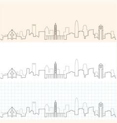 Charlotte hand drawn skyline vector