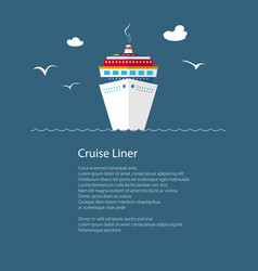 cruise ship at sea and text vector image