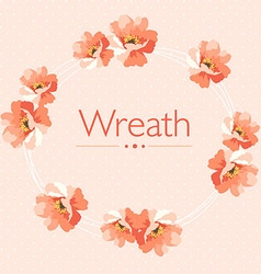 Cute floral wreath in pastel colors vector