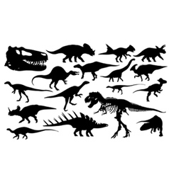 different dinosaur silhouettes vector image