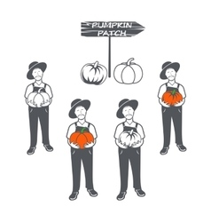 Emblem with the farmer holding pumpkin in hand vector image