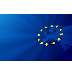 Europe map and European union flag vector image vector image