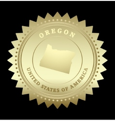 Gold star label Oregon vector image