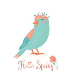 hello spring bird vector image
