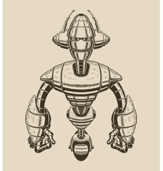 Image of a cartoon metal robot with antennas on vector