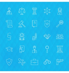 Law and justice line icons set over polygonal vector