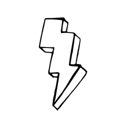 Lightning doodle icon stock hand drawn vector image