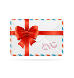 mail or delivery with bow ribbon vector image vector image