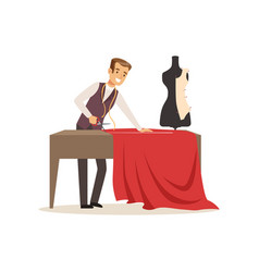 Male dressmaker making out clothes on the table vector