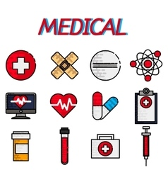 Medical flat icon set vector image