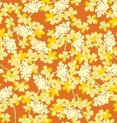 Pattern with yellow orange flowers vector