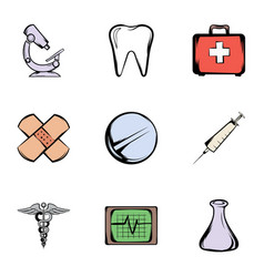Pharmacy icons set cartoon style vector