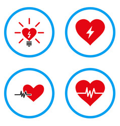 Power heart rounded icons vector
