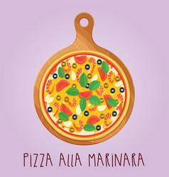 Real pizza alla marinara on wooden board vector