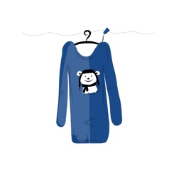 Sweater on hangers with funny bear design vector