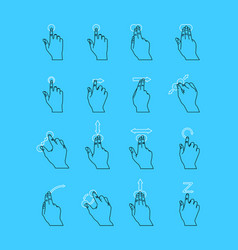 thin line touch screen gestures set vector image