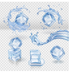 Transparent water splash and ice cubes vector