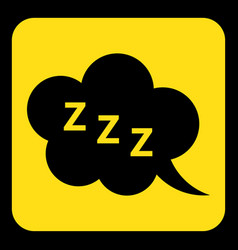 yellow black sign - zzz speech bubble icon vector image vector image