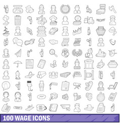 100 wage icons set outline style vector