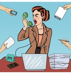 Pop Art Business Woman Screaming into the Phone vector image