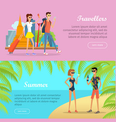 Travellers and summer banners people on vacation vector
