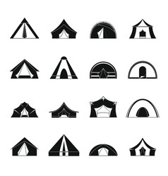 tent forms icons set simple style vector image