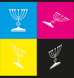 Jewish menorah candlestick in black silhouette vector