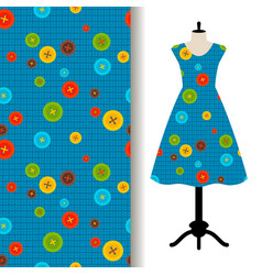 Womens dress fabric with sewing pattern vector