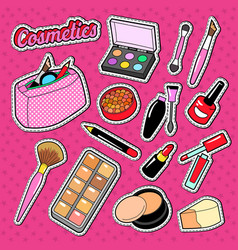 Cosmetics perfume doodle with brush lipstick vector
