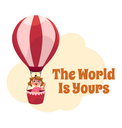 The world is yours postcard banner poster with vector