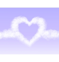 Clouds heart on pink romantic sky background vector