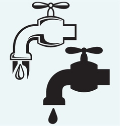 Dripping tap with drop vector