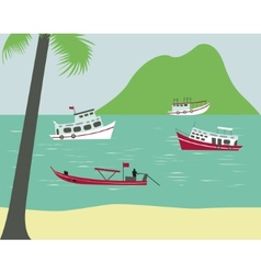 Boats on tropical beach vector