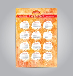 Watercolor vintage calendar template 2015 vector