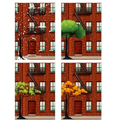 Apartment building in four seasons vector