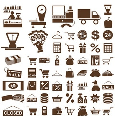 Shop and seller icons on white vector