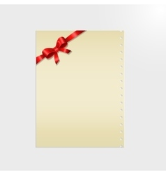 Shiny red satin ribbon on a paper vector