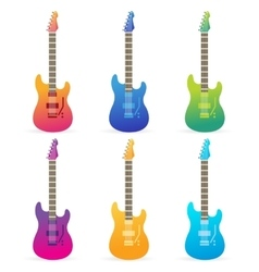 Acoustic and electric guitars set vector