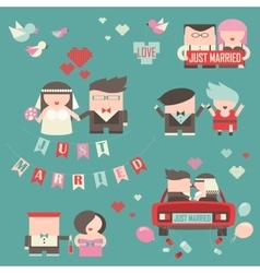 Collection of just married couples vector