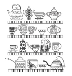 set of tea collection with a tea pot tea cup jars vector image