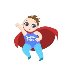 Toddler dressed as superhero with red cape vector