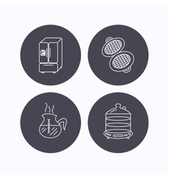 Waffle-iron coffee and steamer icons vector