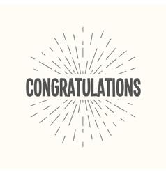 Hand drawn sunburst - congratulations vector